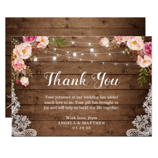 Rustic Pink Floral Lace String Lights Thank You Card