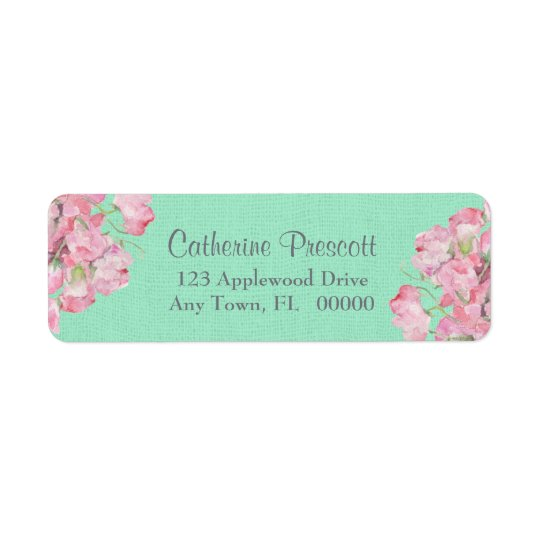 Rustic Pink Floral on Mint Green Burlap Return Address Label