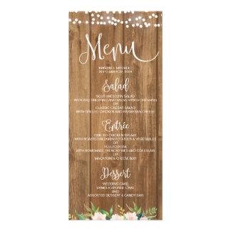 Rustic Pink Floral & Wood Wedding Menu Card