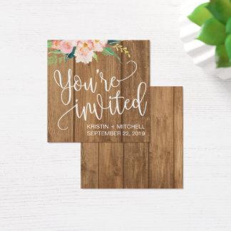 Rustic Pink Floral & Wood Wedding Name Plate Card