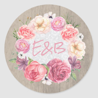 Rustic Pink Flowers Wreath Wedding Round Sticker