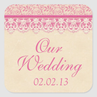 Rustic Pink Ivory Lace Wedding Envelope Seal Square Sticker