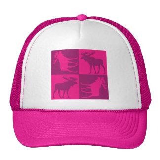 Rustic pink moose foursquare design cap