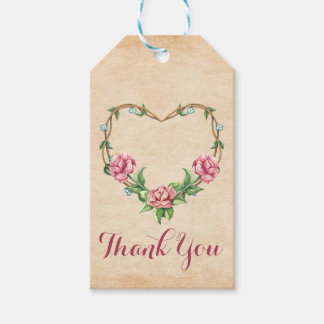 Rustic Pink Rose Heart Floral Thank You