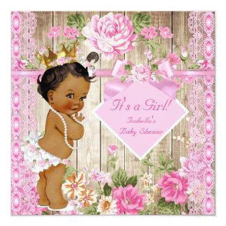 Rustic Pink Wood Princess Baby Shower Ethnic 13 Cm X 13 Cm Square Invitation Card