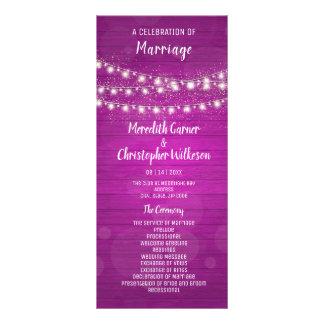 Rustic Pink Wood String Lights Wedding Program Rack Card