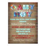 Rustic Plaid Baby Boy Baby Shower Invitations