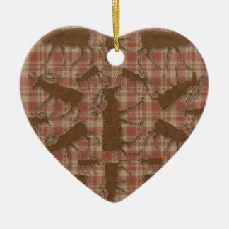 Rustic plaid brown moose heart ornament