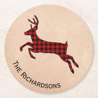 Rustic Plaid Deer Personalized Paper Coasters