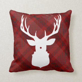 RUSTIC PLAID DEER   STYLISH HOLIDAY PILLOW