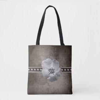 Rustic Plaid Flower Tote Bag