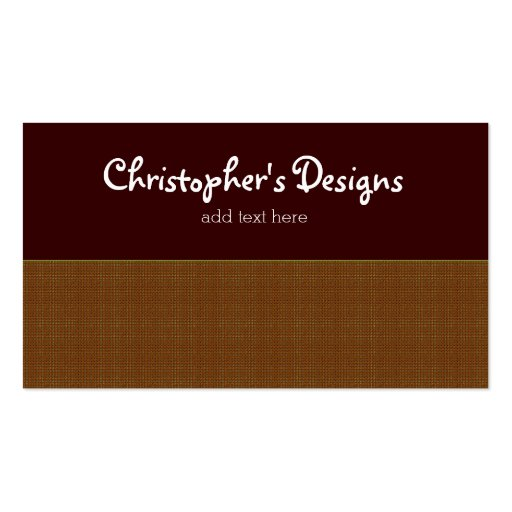 Rustic Plaid with Chocolate Brown Business Card