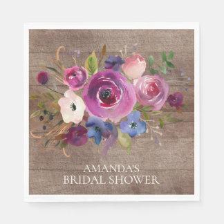 Rustic Plum  Floral Bridal Shower Paper Napkins Disposable Serviette
