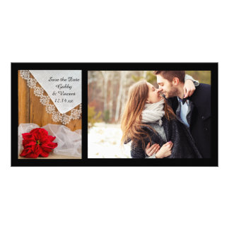 Rustic Poinsettia and Lace Winter Save the Date Customised Photo Card