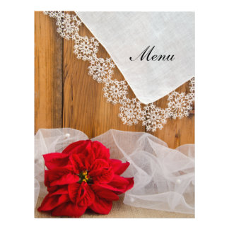 Rustic Poinsettia Lace Country Winter Wedding Menu 21.5 Cm X 28 Cm Flyer