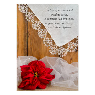 Rustic Poinsettia Winter Wedding Charity Favor Pack Of Chubby Business Cards
