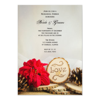 Rustic Poinsettia Winter Wedding Rehearsal Dinner Card