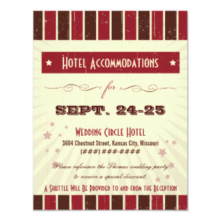 "Rustic Poster: Chocolate Burgundy Accommodation 4.25"" X 5.5"" Invitation Card"