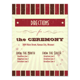 "Rustic Poster: Chocolate Burgundy Directions 4.25"" X 5.5"" Invitation Card"