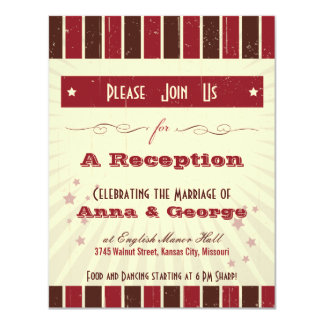 "Rustic Poster: Chocolate Burgundy Reception 4.25"" X 5.5"" Invitation Card"