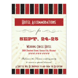 Rustic Poster: Red & Black Accommodation 11 Cm X 14 Cm Invitation Card