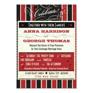 Rustic Poster: Red & Black Custom Wedding 13 Cm X 18 Cm Invitation Card