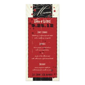 Rustic Poster: Red & Black Custom Wedding Menu 10 Cm X 24 Cm Invitation Card