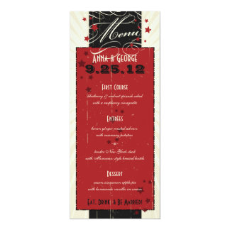 Rustic Poster: Red & Black Custom Wedding Menu Card