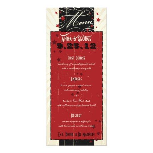 Rustic Poster: Red & Black Custom Wedding Menu Invitation