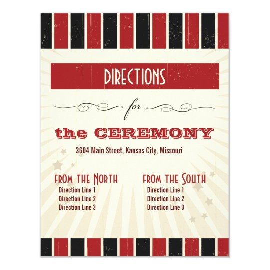 Rustic Poster: Red & Black Directions Card