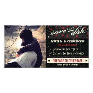 Rustic Poster: Red & Black Save the Date Custom Photo Card
