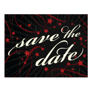 Rustic Poster Red Black Save the Date Post Card