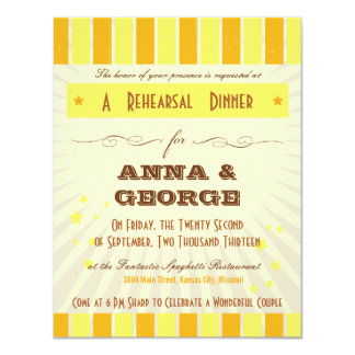 "Rustic Poster: Tropical Sun Rehearsal Dinner 4.25"" X 5.5"" Invitation Card"