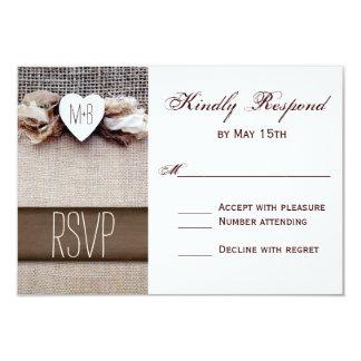 Rustic Printed Burlap Heart Initials Wedding RSVP 9 Cm X 13 Cm Invitation Card