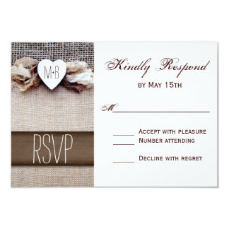 Rustic Printed Burlap Heart Initials Wedding RSVP Card