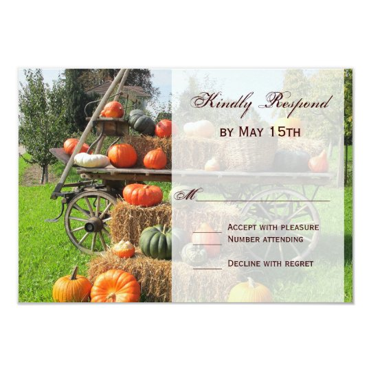 Rustic Pumpkin and Hay Country Wedding RSVP Cards