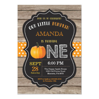 Rustic Pumpkin First Birthday Invitation Orange