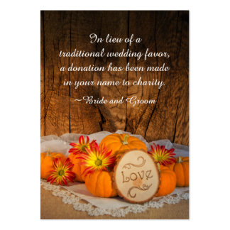 Rustic Pumpkins Fall Wedding Charity Favor Card Pack Of Chubby Business Cards