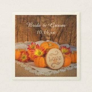 Rustic Pumpkins Fall Wedding Napkins Disposable Serviettes