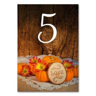 Rustic Pumpkins Fall Wedding Table Numbers