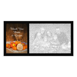 Rustic Pumpkins Fall Wedding Thank You Photo Card