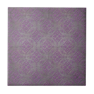 Rustic Purple and Steel Grey Damask Ceramic Tile