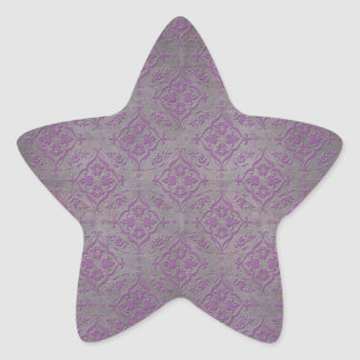 Rustic Purple and Steel Grey Damask Star Sticker