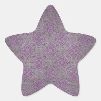 Rustic Purple and Steel Grey Damask Star Sticker