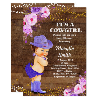 Rustic Purple Cowgirl Baby Shower Lilac Card