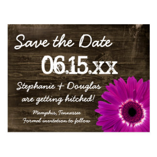 Rustic Purple Daisy Wood Save The Date Postcards