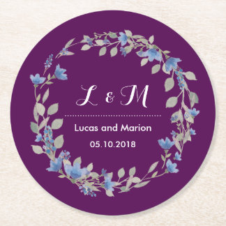 Rustic Purple Floral Wreath Monogram Wedding Party Round Paper Coaster