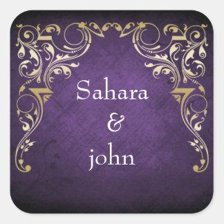 rustic purple regal envelope seal square sticker