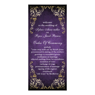 rustic purple regal  wedding program 10 cm x 23 cm rack card