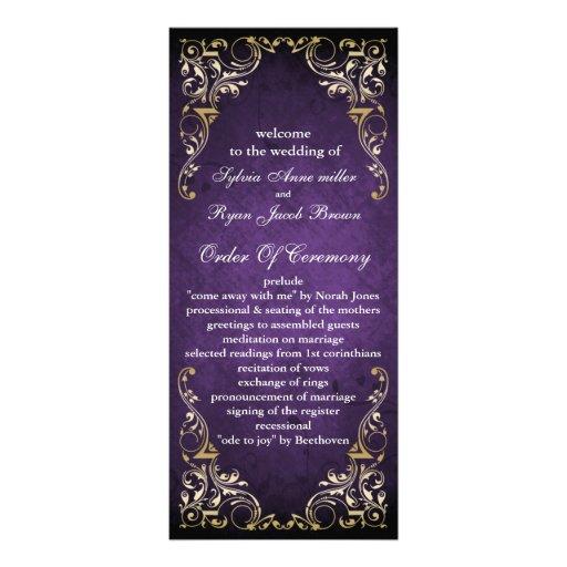 rustic purple regal  wedding program custom rack card